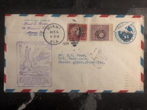 1929 Miami USA First Flight cover FFC To Us Consulate Buenos Aires Argentina
