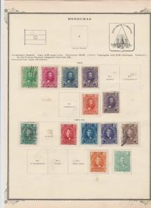 honduras stamps on 1 album page ref 13482
