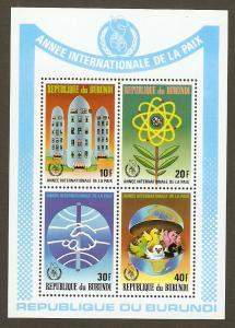 Burundi #642a NH Int'l Peace Year SS