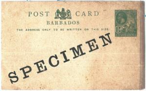 69065 - BARBADOS  - POSTAL HISTORY -   STATIONERY CARD  H & G # 11A - SPECIMEN