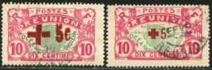 REUNION Sc#B2-B3 1915-16 Red Cross Semi-Postals Used