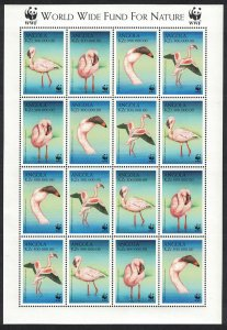 Angola Birds WWF Lesser Flamingo Sheetlet of 4 sets SG#1402-1405 MI#1321-1324