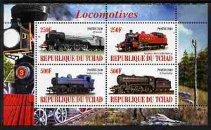 Chad 2010 Steam Locomotives perf sheetlet containing 4 va...