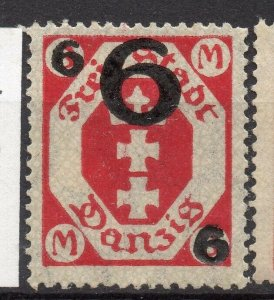 Danzig 1922 Early Issue Fine Mint Hinged 6M. Surcharged NW-10871