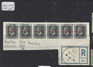 NIUE   (PP0310B)  ON NZ  KGV 1 1/2D STRIP OF 6  SG 25   VFU