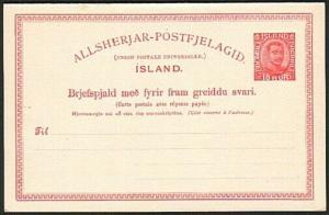 ICELAND 1920 10ore postcard with reply card attached fine unused...........74100