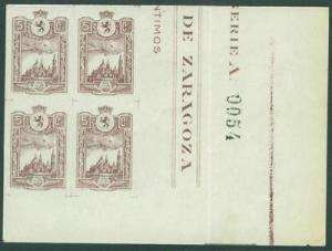 SPAIN Civil War 1937 MNH** Zaragoza Bloco Galvez 794