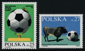 Poland 2521-2 MNH World Cup Soccer, Football, Sports, Bull