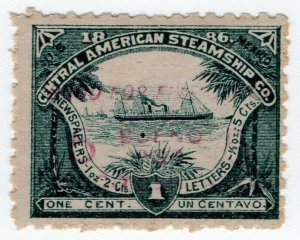 (I.B) US Cinderella : Central American Steamship Company 5c on 1c OP