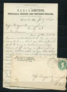1883 ARMSTRONGS GROCERS Letterhead wit 3 cent Bank note on cover