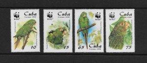 BIRDS - CUBA  #3961-4 PARROTS WWF   MNH