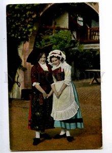 240086 FRANCE Alsatian Lorraine Girls Vintage FELDPOST sticker