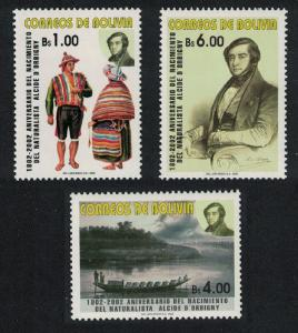 Bolivia Birth Bicentenary of Alcide d'Orbigny naturalist and palaeontologist 3v