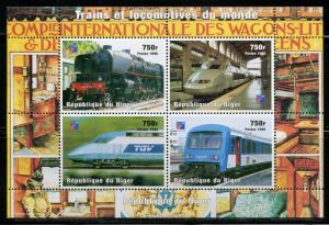NIGER 1998 TRAINS  SHEET OF FOUR  MINT NEVER HINGED