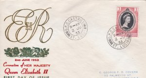 St.Lucia # 156, Queen Elizabeth's Coronation First Day Cover,