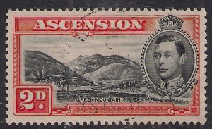 Ascension Island 1938 - 53 KGV1 2d Black & Vermilion used SG 41 ( A979 )