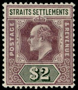 MALAYSIA - Straits Settlements SG120, $2 dull purple & black, LH MINT. Cat 80.