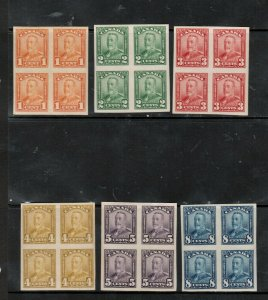 Canada #149b - #154a Extra Fine Never Hinged Imperf Block Set