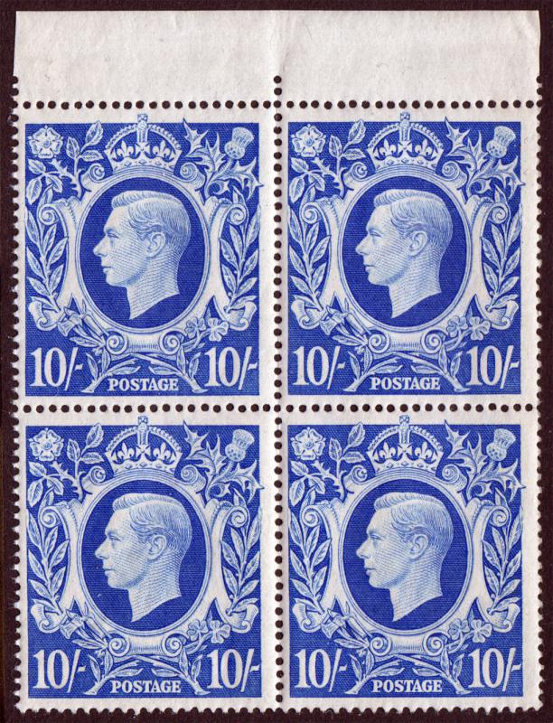 GB KGVI 1939 10/- 10s Ultramarine SG478b Block x 4 Mint Never Hinged MNH UMM