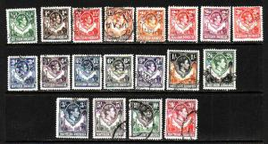 Northern Rhodesia-Sc#25-45 ex #'s 26,28-used KGVI set-1938-52-