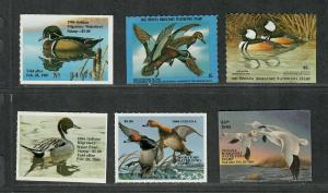 Indiana Sc#6-11 M/NH/VF, State Duck Stamp, Cv. $50