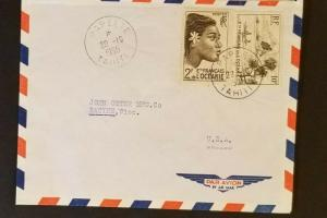 1955 Papeeti Tahiti to Racine Wisconsin USA Importation Business Air Mail Cover