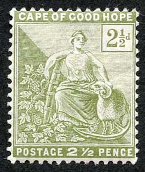 Cape of Good Hope SG56 2 1/2d sage green wmk anchor m/mint cat 27 pounds