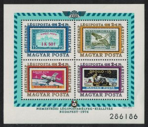 Hungary Icarus Space Aerofila 1974 International Airmail Exhibition Budapest MS