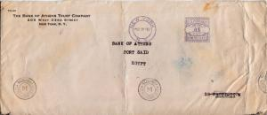 Meters 5c Meter 1940 New York, N.Y. to Port Said, Egypt.  Corner card The Ban...