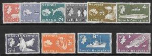 SOUTH GEORGIA SG1/10 1963 DEFINITIVES TO 1/- MTD MINT