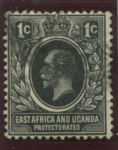East Africa & Uganda - Scott 40- KGV Definitive -1912 - Used- Single 1c Stamp