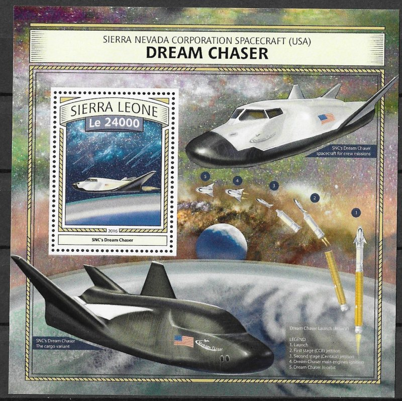 Sierra Leone MNH S/S Dream Chaser Space Craft