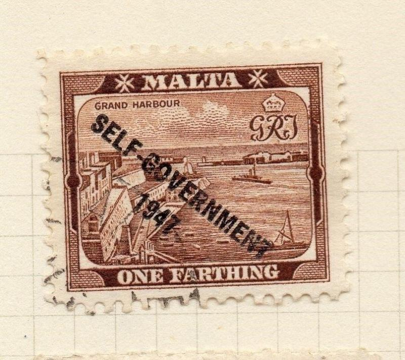 Malta 1948 Early Issue Fine Used 1F. Optd Self Gov 276523