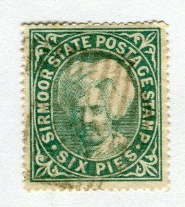 INDIAN STATES; SIRMOOR 1885-96 early classic local issue used hinged 6p. value