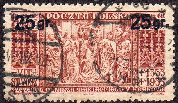Poland 285- Used - 25gr on 80gr Altar Panel (Cracow) (1934) (cv $0.90)