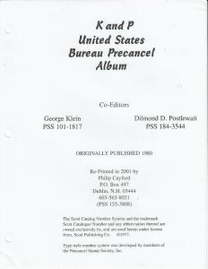 K & P United States Bureau Precancel Album 2001 Re-print Pages Only New