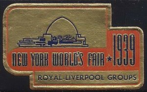 1939 New York World's FairRoyal Liverpool Groups Cinderella Poster Stamp MNH