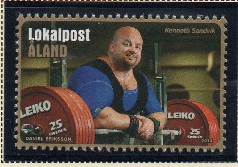 Aland Sc 357 2014 356 Sandvik Weightlifter stamp  mint NH