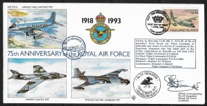Autographed Falkland Islands #574 Royal Air Force 75th Anniv./Lockheed Hercules