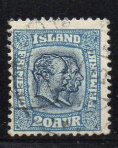 Iceland Sc 79 1907 20 aur blue 2 Kings stamp used