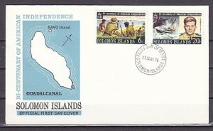Solomon Is., Scott cat. 333-334 only. Bicentennial & Kennedy. First Day Cover. ^