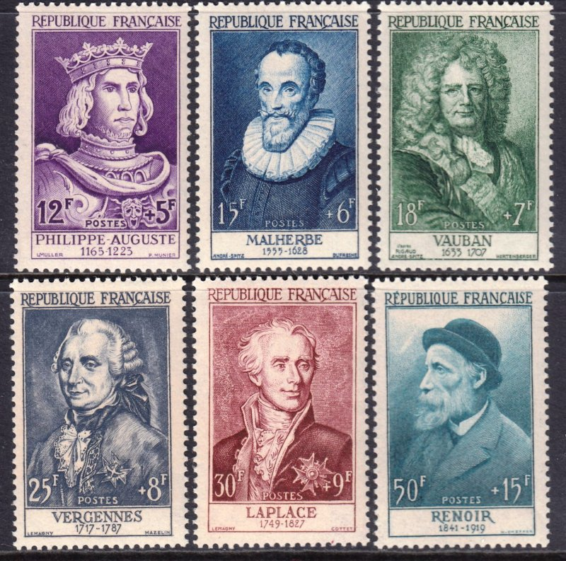 France 1955 12th & 20th Century Personalities - Relief Fund MNH Set CV $129