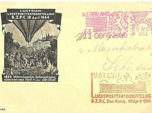 Netherlands AVIATION Air Balloon Flight *Den Haag* Cachet Machine Cover 1944 L22