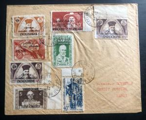 1946 Hanoi Vietnam French Cochina Cover Domestic Used Stamp Overprints