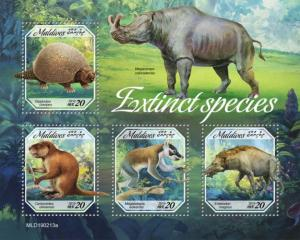 MALDIVES - 2019 - Extinct Species - Perf 4v Sheet - MNH