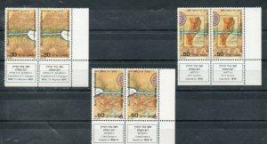 Israel Scott #975-77 1987 Holyland Exploration Marginal Tab Pairs MNH!!