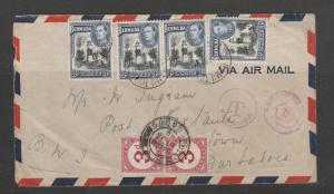 Barbados 1949 postage Due 3d pair USED CORRECTLY on 1949 Cover from Bermuda, inc