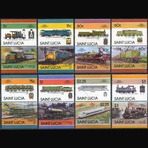 ST.LUCIA 1986 - Scott# 807-14 Locomotives Set of 16 NH