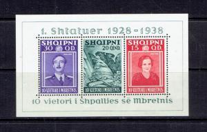 ALBANIA - 1938 10th ANNIVERSARY OF ROYAL RULE SOUVENIR SHEET - SCOTT 298 - MH