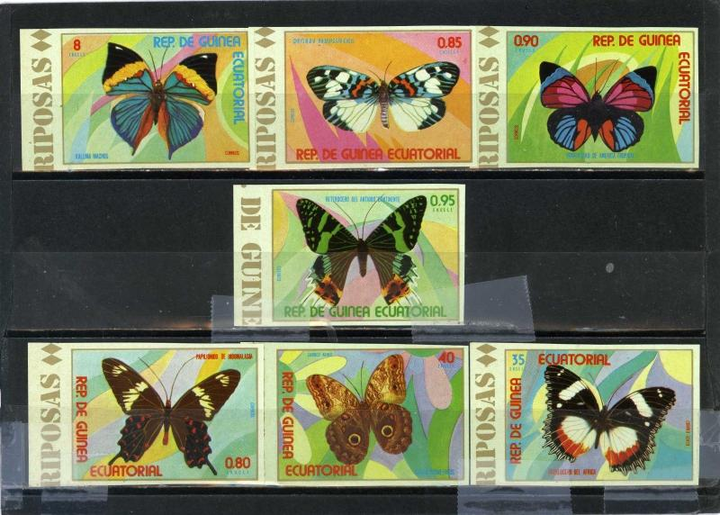 EQUATORIAL GUINEA BUTTERFLIES SET OF 7 STAMPS IMPERF. MNH